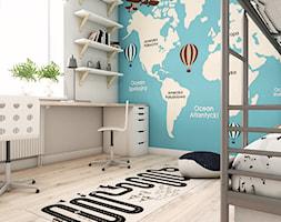 Pokój przyszłych podróżników - Warszawa - Mały biały niebieski pokój dziecka dla chłopca dla rodzeństwa dla ucznia dla malucha dla nastolatka, styl nowoczesny - zdjęcie od art-park sp. z o.o.