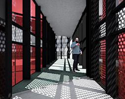 Fabryka toreb - Duży czarny szary czerwony hol / przedpokój, styl nowoczesny - zdjęcie od annalenga