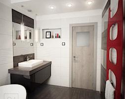 Łazienka z wanną - Średnia biała łazienka w bloku w domu jednorodzinnym bez okna, styl nowoczesny - zdjęcie od Nela Just ARCHITEKTURA WNĘTRZ