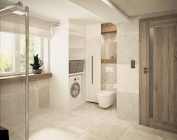 Łazienka w górskim domu - Duża biała beżowa łazienka w domu jednorodzinnym z oknem, styl nowoczesny - zdjęcie od Nela Just ARCHITEKTURA WNĘTRZ