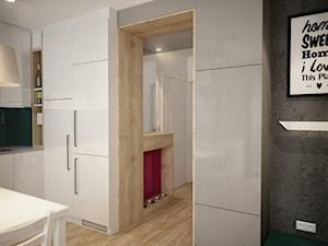 Mieszkanie z kolorem - Mały biały szary hol / przedpokój, styl nowoczesny - zdjęcie od Nela Just ARCHITEKTURA WNĘTRZ