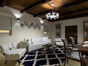 wersja glamour - Mały biały salon z jadalnią, styl glamour - zdjęcie od LS Lempart Studio
