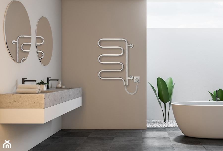 SPINA - Średnia biała beżowa łazienka w bloku w domu jednorodzinnym z oknem, styl minimalistyczny - zdjęcie od Instal Projekt