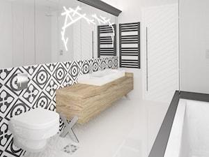 MAKAO - Średnia biała czarna łazienka na poddaszu w bloku w domu jednorodzinnym, styl skandynawski - zdjęcie od Instal Projekt