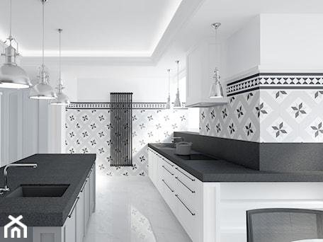 TUBUS - Duża zamknięta biała szara czarna kuchnia w kształcie litery l w aneksie z wyspą z oknem - zdjęcie od Instal Projekt