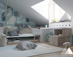 Pokoik Oliwiera - Mały biały niebieski pokój dziecka dla chłopca dla dziewczynki dla ucznia dla nastolatka, styl nowoczesny - zdjęcie od Małgorzata Rosińska