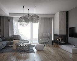 Projekt domu pod Poznaniem - Średni szary salon z tarasem / balkonem, styl nowoczesny - zdjęcie od Małgorzata Rosińska
