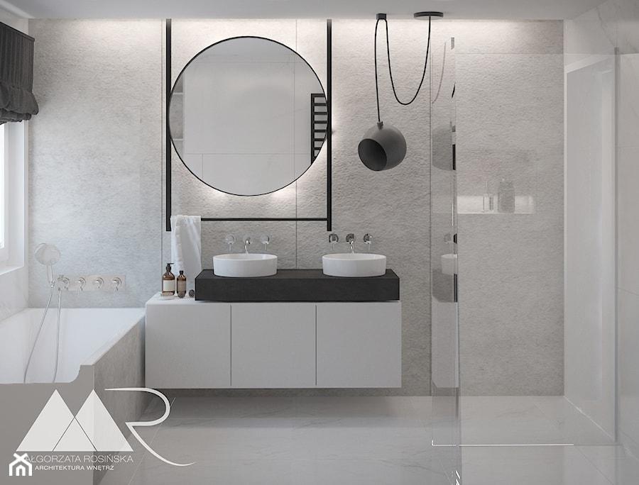 Projekt domu pod Poznaniem - Średnia łazienka w bloku w domu jednorodzinnym z oknem, styl nowoczesny - zdjęcie od Małgorzata Rosińska