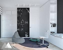 Dom pod Warszawą - Mały biały czarny pokój dziecka dla chłopca dla dziewczynki dla malucha dla nastolatka, styl nowoczesny - zdjęcie od Małgorzata Rosińska