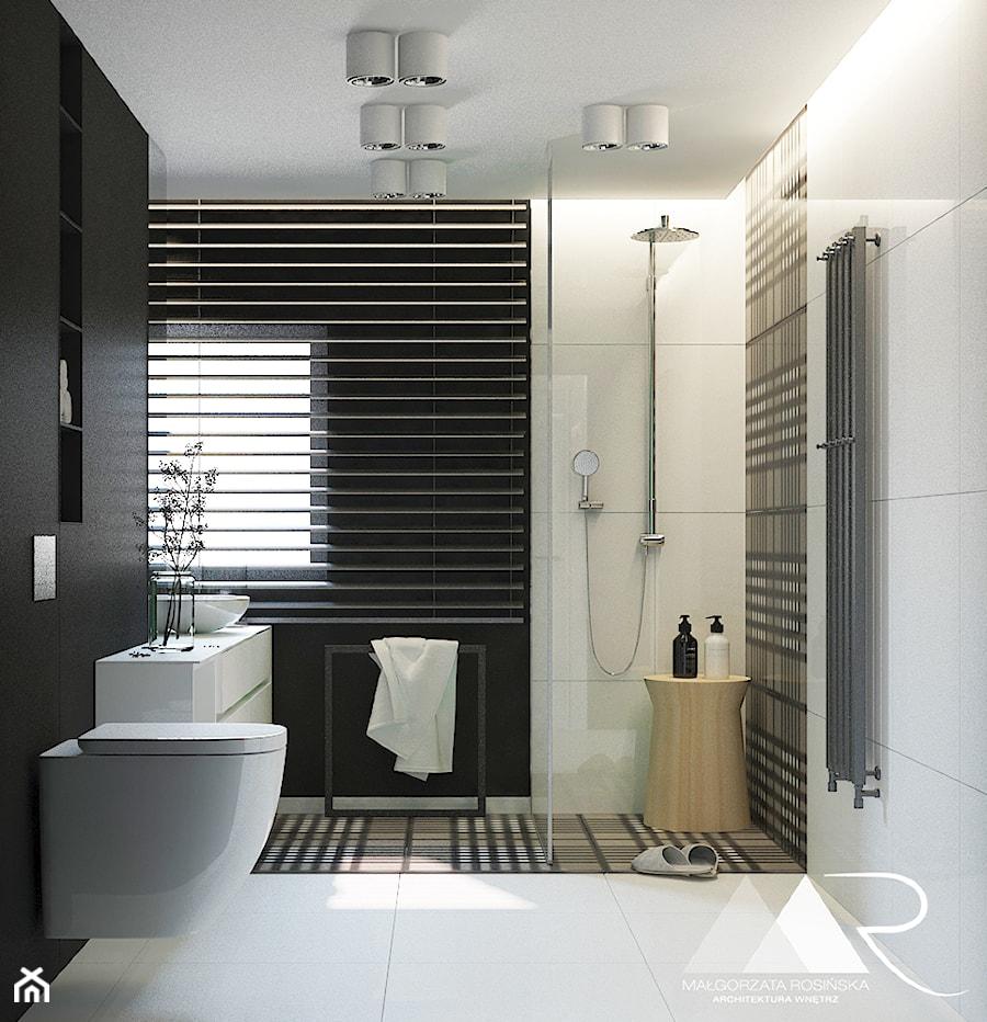 Projekt Łazienki - Mała biała czarna łazienka na poddaszu w bloku w domu jednorodzinnym z oknem, styl nowoczesny - zdjęcie od Małgorzata Rosińska