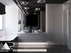 ŁAZIENKA - Średnia biała szara łazienka na poddaszu w bloku w domu jednorodzinnym z oknem, styl glamour - zdjęcie od Małgorzata Rosińska