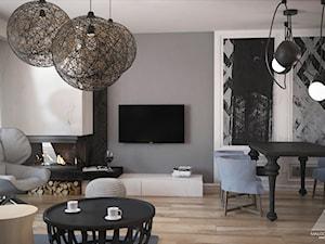 Projekt domu pod Poznaniem - Mały szary salon z jadalnią, styl nowoczesny - zdjęcie od Małgorzata Rosińska
