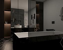 WOOD SYMPHONY - Średnia szara łazienka na poddaszu w bloku w domu jednorodzinnym bez okna, styl nowoczesny - zdjęcie od VEYAZDESIGN