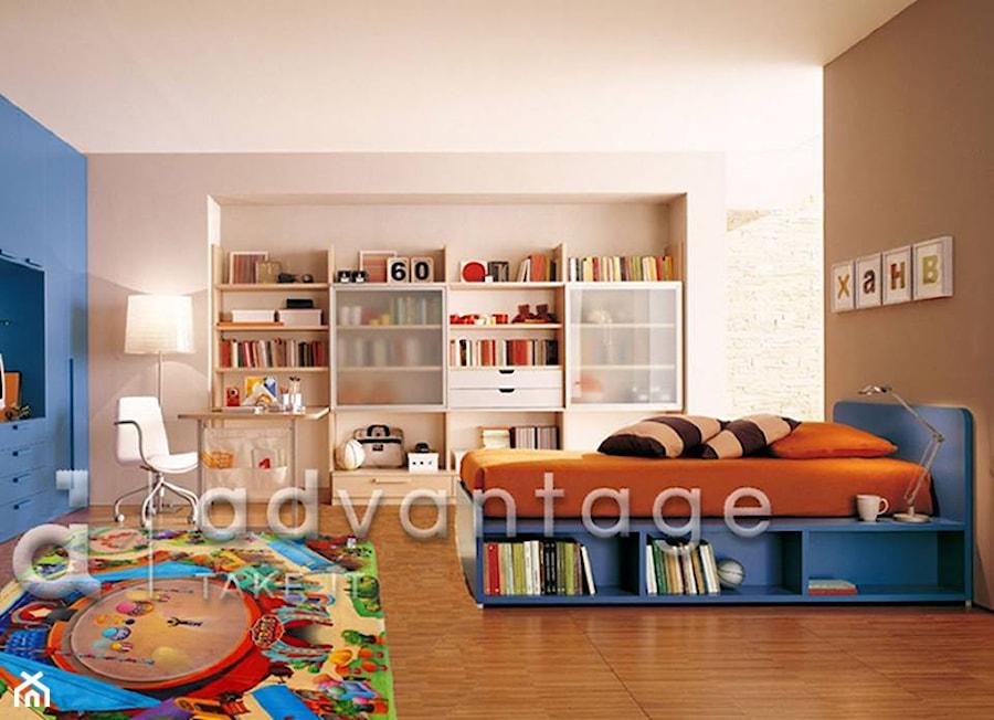 Duży beżowy niebieski brązowy pokój dziecka dla chłopca dla dziewczynki dla ucznia dla malucha dla nastolatka - zdjęcie od ADvantager