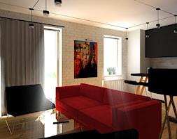 Dla Miłośników Sztuki POP-ART - Średni szary biały salon z kuchnią, styl nowoczesny - zdjęcie od 2A DESIGN