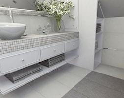 Łazienka w bieli - Mała szara łazienka na poddaszu w bloku w domu jednorodzinnym bez okna, styl tradycyjny - zdjęcie od Pracownia Concept
