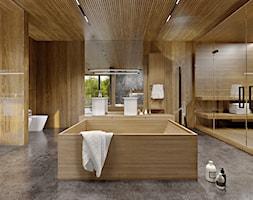 Dom dębem otulony - Duża łazienka na poddaszu w bloku w domu jednorodzinnym z oknem, styl nowoczesny - zdjęcie od KANDO ARCHITECTS
