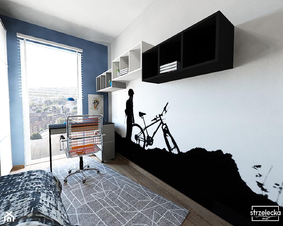 Aranżacje wnętrz - Pokój dziecka: Pokój miłośnika wycieczek rowerowych - Mały biały niebieski czarny pokój dziecka dla chłopca dla nastolatka, styl nowoczesny - Strzelecka Design. Przeglądaj, dodawaj i zapisuj najlepsze zdjęcia, pomysły i inspiracje designerskie. W bazie mamy już prawie milion fotografii!