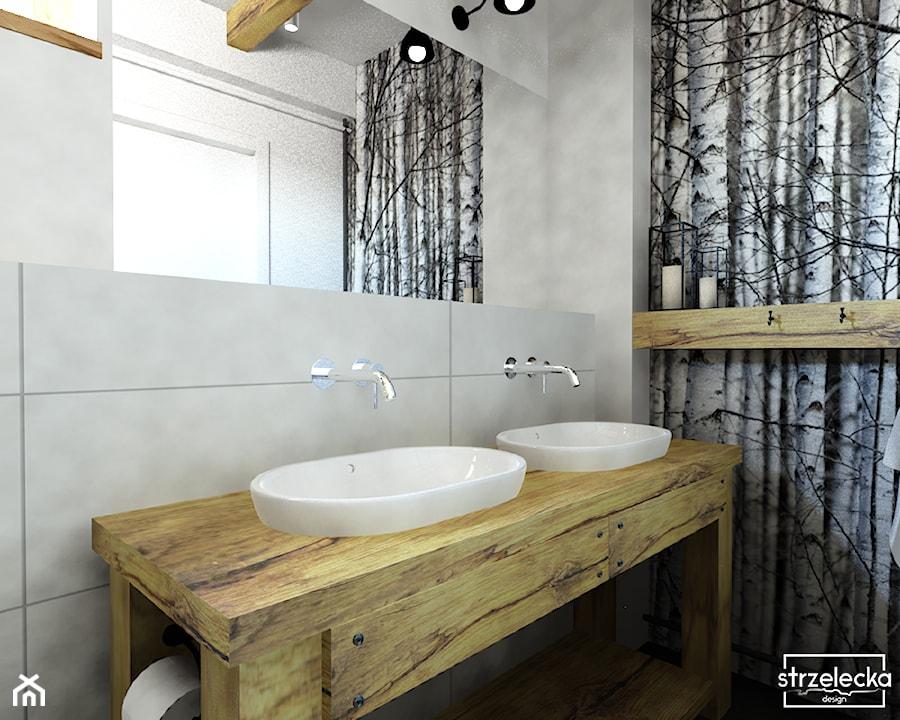 Aranżacje wnętrz - Łazienka: Łazienka w stylu Modern Farmhouse - Mała szara łazienka w bloku w domu jednorodzinnym bez okna, styl vintage - Strzelecka Design. Przeglądaj, dodawaj i zapisuj najlepsze zdjęcia, pomysły i inspiracje designerskie. W bazie mamy już prawie milion fotografii!