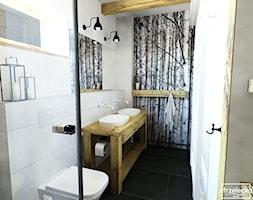 Łazienka w stylu Modern Farmhouse - Mała szara łazienka w bloku w domu jednorodzinnym z oknem, styl vintage - zdjęcie od Strzelecka Design