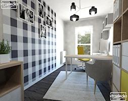 Domowe biuro - Małe białe biuro kącik do pracy, styl nowoczesny - zdjęcie od Strzelecka Design