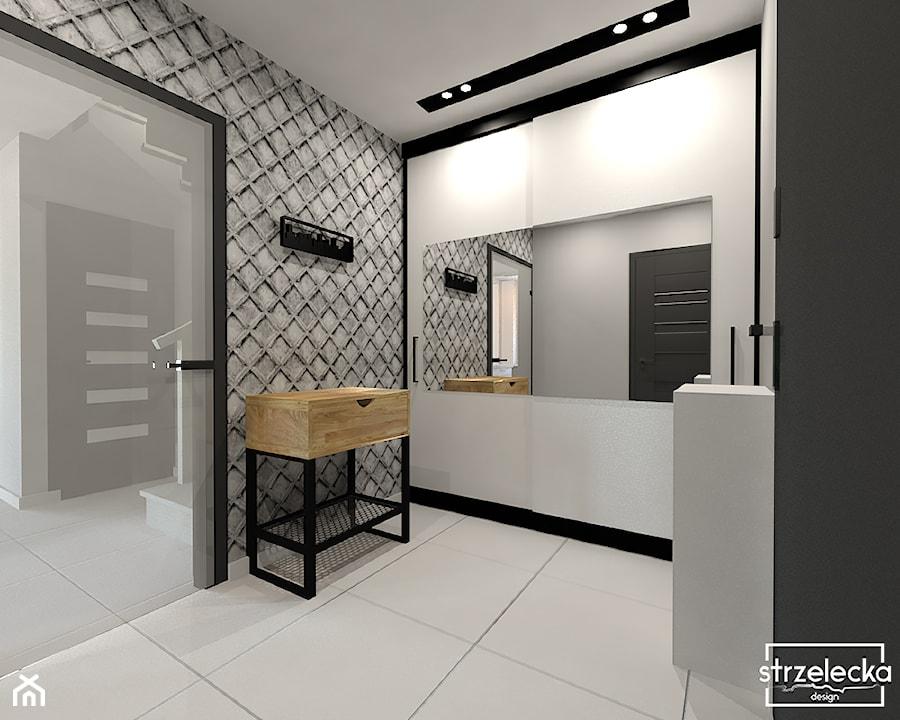 Przedpokój w industrialnym stylu - Średni biały czarny szary hol / przedpokój, styl industrialny - zdjęcie od Strzelecka Design