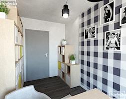 Domowe biuro - Małe szare biuro kącik do pracy, styl nowoczesny - zdjęcie od Strzelecka Design