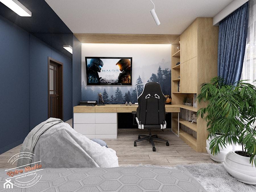 Pokój dziecięcy TK - Średni niebieski pokój dziecka dla chłopca dla ucznia dla nastolatka, styl skandynawski - zdjęcie od Retro Studio