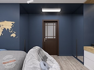 Pokój dziecięcy TK - Średni niebieski pokój dziecka dla chłopca dla nastolatka, styl minimalistyczny - zdjęcie od Retro Studio