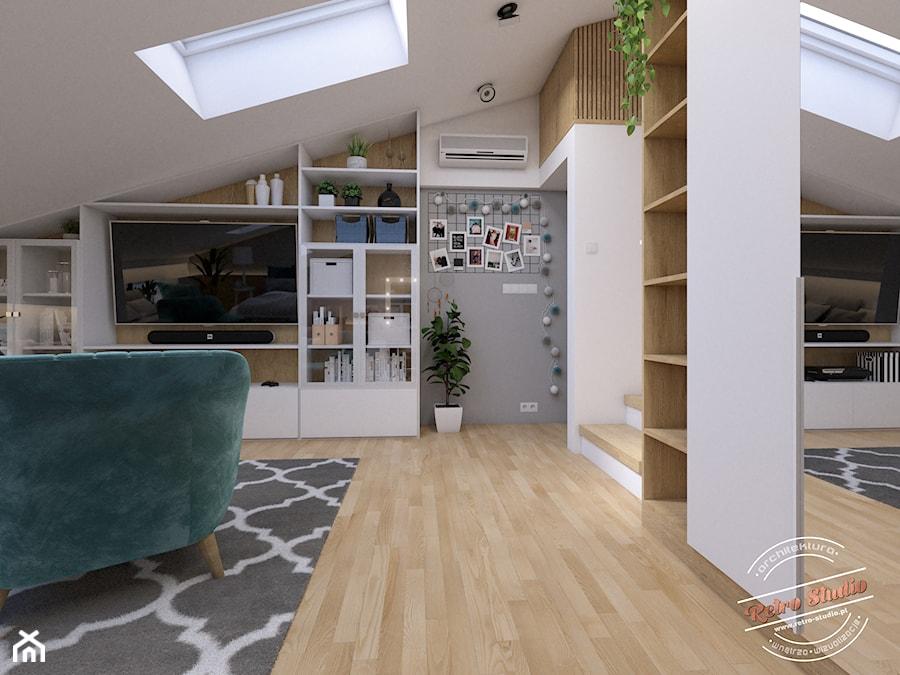 Poddasze AT - Średni biały szary pokój dziecka dla chłopca dla nastolatka, styl glamour - zdjęcie od Retro Studio
