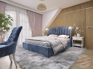Sypialnia AK - Duża biała sypialnia małżeńska, styl glamour - zdjęcie od Retro Studio