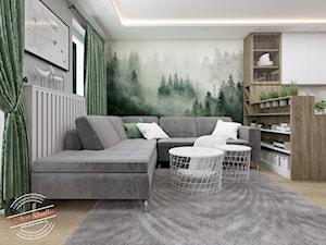 Mieszkanie SR - Średni szary biały zielony salon z bibiloteczką z kuchnią, styl skandynawski - zdjęcie od Retro Studio