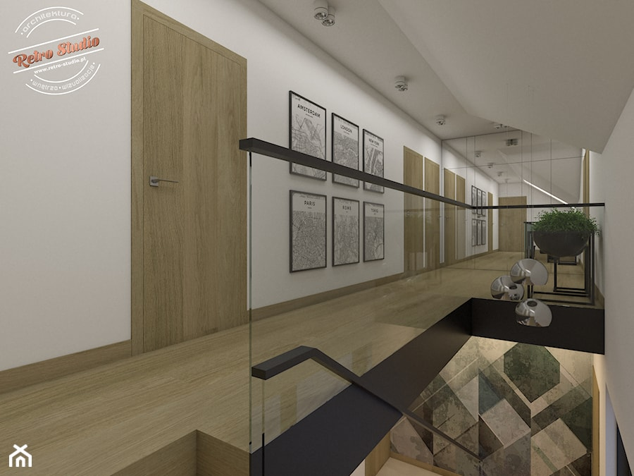 Aranżacje wnętrz - Hol / Przedpokój: Korytarz na piętrze - Retro Studio. Przeglądaj, dodawaj i zapisuj najlepsze zdjęcia, pomysły i inspiracje designerskie. W bazie mamy już prawie milion fotografii!