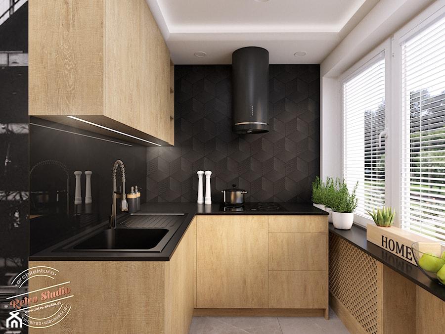 Mieszkanie 57 m2 - Mała otwarta biała czarna kuchnia w kształcie litery u z oknem, styl nowoczesny - zdjęcie od Retro Studio