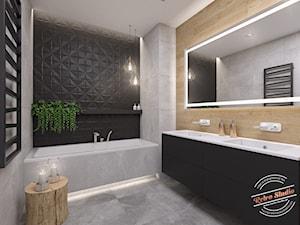 Łazienka 8 m2 - Mała czarna szara łazienka w bloku w domu jednorodzinnym bez okna, styl nowoczesny - zdjęcie od Retro Studio