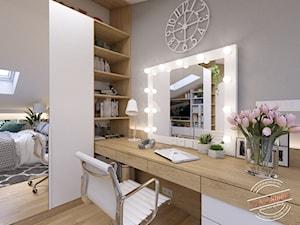 Poddasze AT - Średnia szara sypialnia małżeńska na poddaszu, styl glamour - zdjęcie od Retro Studio