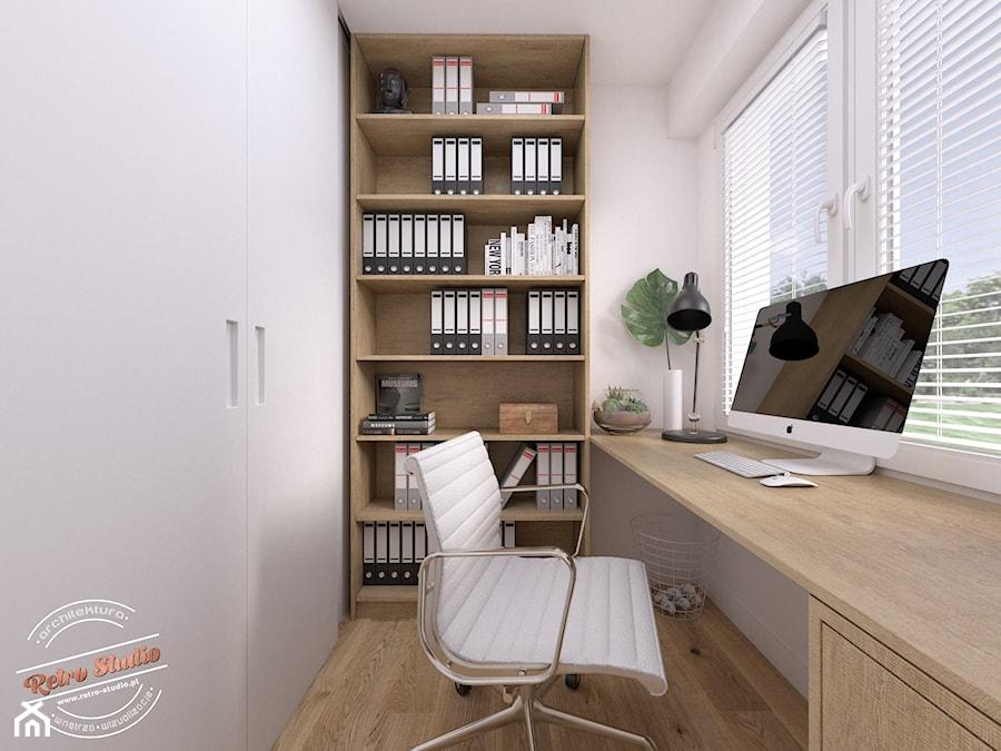 Mieszkanie 57 m2 - Małe białe biuro domowe w pokoju, styl nowoczesny - zdjęcie od Retro Studio