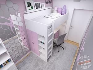 Mieszkanie 57 m2 - Średni biały szary pokój dziecka dla dziewczynki dla ucznia dla nastolatka, styl minimalistyczny - zdjęcie od Retro Studio