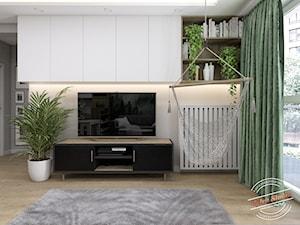 Mieszkanie SR - Średni biały salon z tarasem / balkonem, styl skandynawski - zdjęcie od Retro Studio