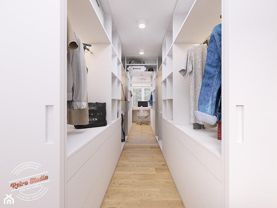 Aranżacje wnętrz - Garderoba: Mieszkanie 57 m2 - Garderoba, styl nowoczesny - Retro Studio. Przeglądaj, dodawaj i zapisuj najlepsze zdjęcia, pomysły i inspiracje designerskie. W bazie mamy już prawie milion fotografii!