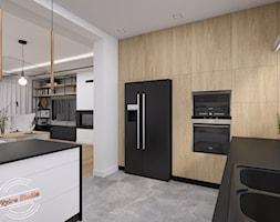 Dom jednorodzinny NP - Duża otwarta biała kuchnia w kształcie litery l z oknem, styl industrialny - zdjęcie od Retro Studio - Homebook