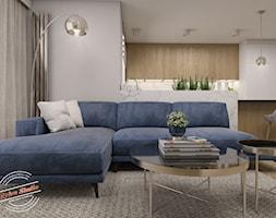 Projekt salonu z otwartą kuchnią w domu szeregowym - zdjęcie od Retro Studio