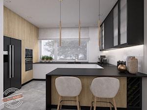 Dom jednorodzinny NP - Duża otwarta biała kuchnia w kształcie litery g z oknem, styl skandynawski - zdjęcie od Retro Studio