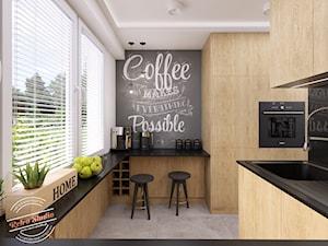 Mieszkanie 57 m2 - Średnia zamknięta biała czarna kuchnia w kształcie litery g z oknem, styl skandynawski - zdjęcie od Retro Studio