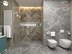 Łazienka 12,7 m2 - Średnia szara łazienka bez okna, styl minimalistyczny - zdjęcie od Retro Studio