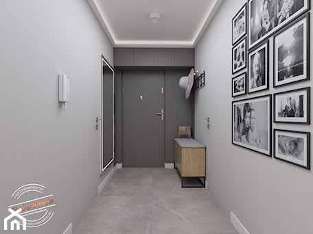 Aranżacje wnętrz - Hol / Przedpokój: Mieszkanie 57 m2 - Hol / przedpokój, styl minimalistyczny - Retro Studio. Przeglądaj, dodawaj i zapisuj najlepsze zdjęcia, pomysły i inspiracje designerskie. W bazie mamy już prawie milion fotografii!