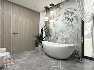 Łazienka 12,7 m2 - Duża biała szara łazienka w domu jednorodzinnym z oknem, styl glamour - zdjęcie od Retro Studio