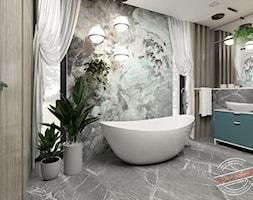 Łazienka 12,7 m2 - Średnia beżowa szara łazienka w domu jednorodzinnym jako salon kąpielowy z oknem, styl nowoczesny - zdjęcie od Retro Studio