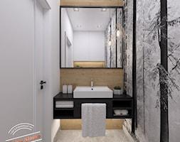 Toaleta 2,5 m2 - Mała biała czarna szara łazienka bez okna, styl industrialny - zdjęcie od Retro Studio - Homebook