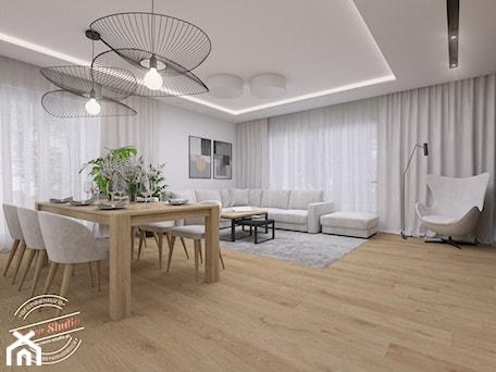 Aranżacje wnętrz - Salon: Dom jednorodzinny NP - Duży biały salon z jadalnią, styl nowoczesny - Retro Studio. Przeglądaj, dodawaj i zapisuj najlepsze zdjęcia, pomysły i inspiracje designerskie. W bazie mamy już prawie milion fotografii!